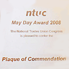 NTUC May Day Award (Plaque of Commendation) in 2008