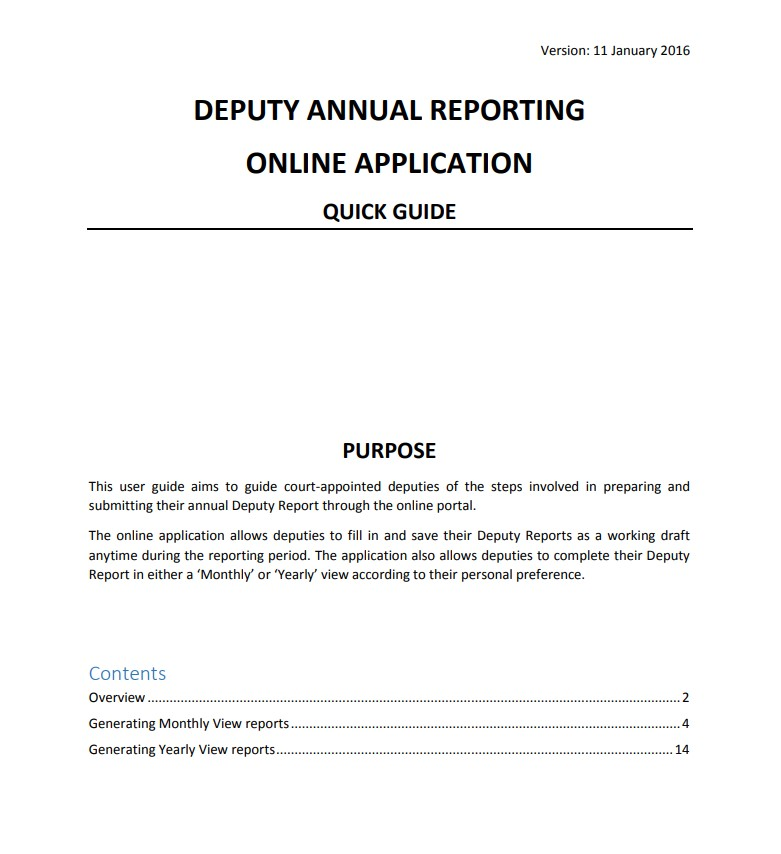 Online Deputy Annual Reporting Guide