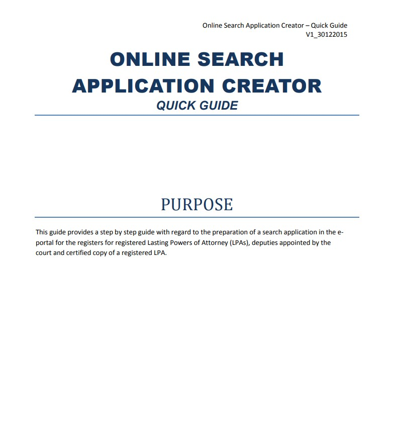 Online Search Application Creator Guide